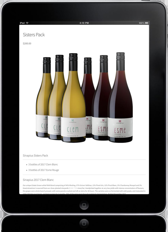 e-commerce website design for sinapius wine tasmania